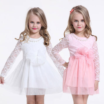 Gorgeous Girls Long Sleeve Lace Occasion Dress With Pearl Necklace