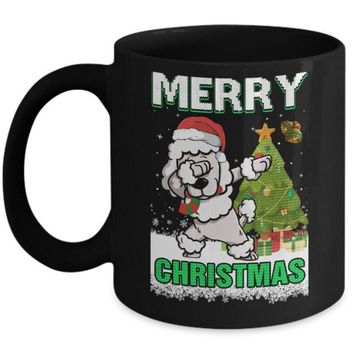 DCKIJ3 Cute Poodle Claus Merry Christmas Ugly Sweater Mug
