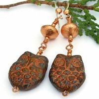 Owl Earrings Artisan Handmade Dangle Jewelry Rust Copper Beaded OOAK