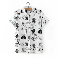 White Cartoon Print Collar Button Short Sleeve Shirt