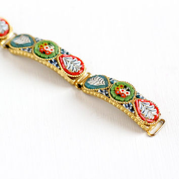 Vintage Gold Tone Mosaic Flower Bracelet - Retro Curved Panel Colorful Red , Blue , and Green Glass Tesserae Tiles Floral Costume Jewelry