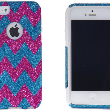 SALE 10% OFF iPhone 5 Otterbox Case - Chevron Print Peacock Blue/Raspberry iPhone 5 Commuter Case - iPhone 5 Otterbox Cover