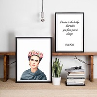 Frida Kahlo Feminist Artwork Canvas Art Print Wall Poster , Frida Kahlo Art Decor Canvas Painting Wall Picture Home Decoration