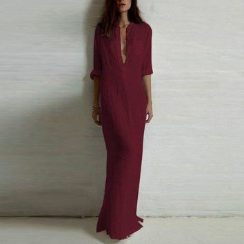 Floor Length Long Sleeve Deep V Neck Linen Maxi Dress
