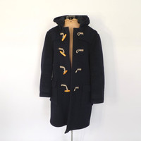 Vintage Original Gloverall Duffle Coat Navy Blue Peacoat Hooded Toggle Coat Outerwear Mens Winter Jacket Preppy Nautical Sailor Pea Coat