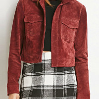 Wine Red Shirt Collar Pocket Detail Long Sleeve Suedette Jacket