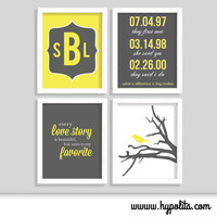 Wedding Print Set - Special Date - Modern Mongoram - Love Story - Set of Four 8x10 Prints - Choose Your Colors