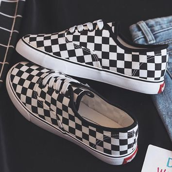 Women vulcanize shoes checkered shallow fashion canvas shoes for girls wear-resistant non-slip female sneakers 2018 new