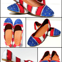 Patriotic American Flag 4th of July Flats with by WickedAddiction