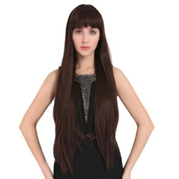 55cm Long one-Piece Straight Wig cap with lace-up Black