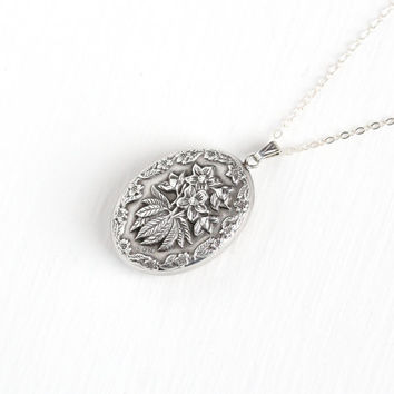 Vintage Sterling Silver Puffy Flower Pendant Necklace - WWII 1940s Charm Floral Repousse Double Sided Statement Jewelry