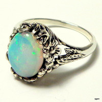 Huge Welo Opal Ring,Sterling Silver,Filigree Ring,Color Play Opal, Blue Pink Green Yellow Lavender, Ethiopian Opal Ring OOAK
