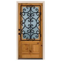 Steves & Sons 36 in. x 80 in. Decorative Iron Grille 3/4- Lite Stained Knotty Alder Wood Prehung Front Door-A6201RC-AW-WJ-4RH - The Home Depot