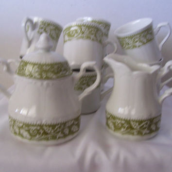 PRICE REDUCTION Antique Sugar Bowl // Creamer // Cups  J G Meakin England c.1890's-1907 Sterling Colonial in the Lucerne Pattern Olive Green