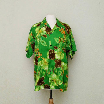 Vintage Ahola Hawaiian Shirt / Large Size / 1960s / Dark Lime Green / Short Sleeve / Mod / Ahi Nani / Tiki / Retro Surfer Shirt / Luau