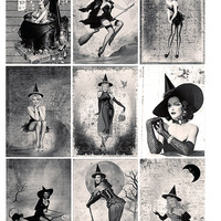 Sexy Pin Up Halloween Witches Spells Witch craft ATC Backgrounds or Tags Set 1 Printable Digital Collage Sheet Instant Download
