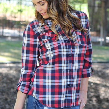 Mountain View Plaid Top