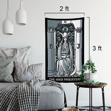 The High Priestess Tarot Card Tapestry - Full Card Tapestry by Printagrams