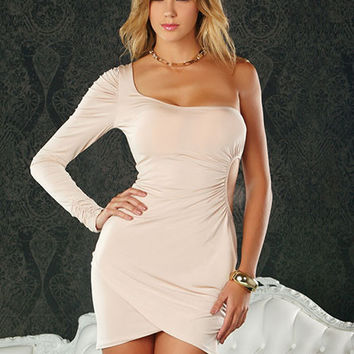 One Sleeve Mini Dress - Women Club wear - Short Dresses