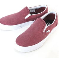 VANS vans vans CLASSIC SLIP ON classicsrippon WASHED POMEGRANATE (South of France) Womens Burgundy shoes shoes canvas
