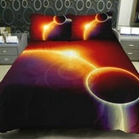 Anlye Luxury Sunrise Bedding Sets 2 Sides Printing Galaxy Quilt Duvet Cover Red Galaxy Bed Linen Sheets with 2 Sunrise Pillow Covers Twin