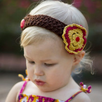 Floral baby headband, fall baby hair band, toddler flower headband, crochet girl hairband, infant headband, little girls gift, kids fashion