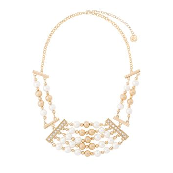 Gold plated statement pearl necklace with crystal stones 17.75 in ext 3 in