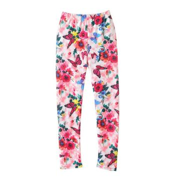 2017 Spring Kids Baby Girls Leggings Kids Leggings Girls Butterfly Flower Print Leggings