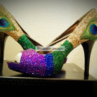 Peacock Bling Shoes by DaedreamDesigns on Etsy