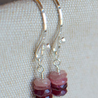 Pink Tourmaline Earrings, Wire Wrapped, Sterling Silver, Natural, Pink Ombre Style Drops. Ready to ship.