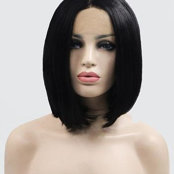 Black Bob Synthetic Lace Front Wig