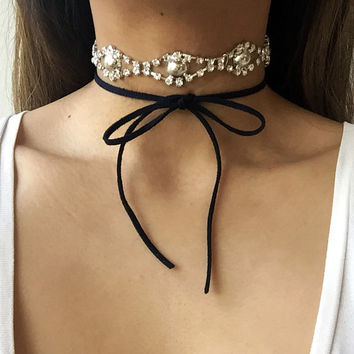 Double Wrap Suede Ribbon Choker / Crystal Rhinestone Statement Necklace - Constance