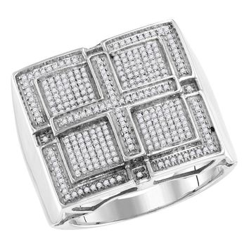 10kt White Gold Mens Round Pave-set Diamond Square Cross Cluster Ring 1/2 Cttw