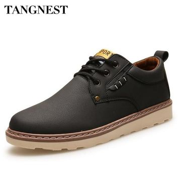 Tangnest Man's Plain Solid Patchwork Ankle Boots Men Classic PU Leather Shoes Men Vintage Lace Up Safe Working Boots XMX665