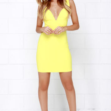 Wine and Divine Me Yellow Bodycon Dress