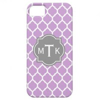Monogrammed Modern Gray and Lilac Lattice Pattern iPhone 5 Case