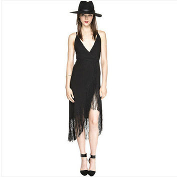 Stylish Backless V-neck Tassels Slim Sleeveless One Piece Dress [4915023812]