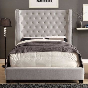 Dryden Flannelette King Upholstered Panel Bed