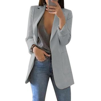 Spring Autumn Slim Fit Women Jackets Blazer Pockets Office Work Jacket Coat Elegant Business Lady chaquetas mujer invierno 2019