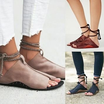 Women Sandals 2018 Flat Sandals Summer Shoes Woman Ankle Strap Soft Leather beach sandals