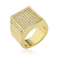 Men's Goldtone Iced Out Ring with Inner Rectangular Border Sizes 7-10