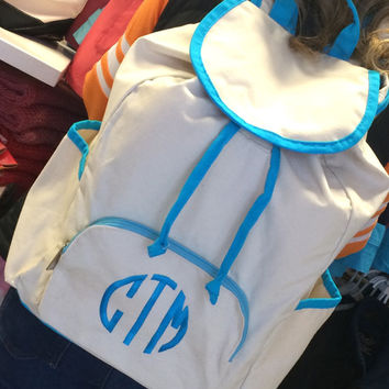 Large Canvas Backpack with Turquoise Trim  Font shown NATURAL CIRCLE in bright blue