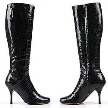 Giuseppe Zanotti Black Patent Leather Alligator Boots (Sizes EU 36-40) $229 was 945 Ships from United states