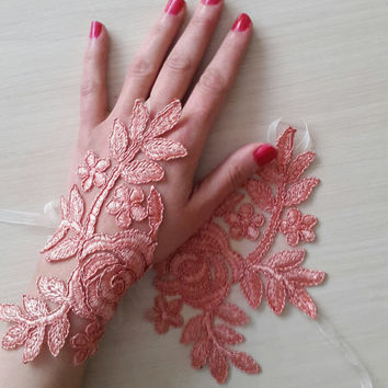 french lace,  coral lace wedding gloves, prom dress gloves,bridal gloves, free shipping!