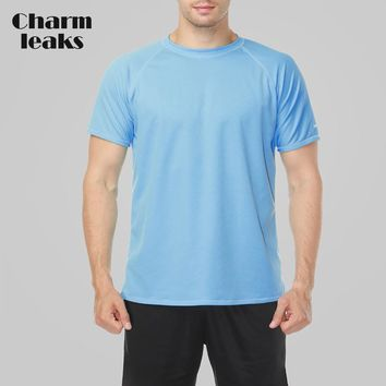 Charmleaks Men Rashguard Dry-Fit Shirts Men Solid Color Shirt UV-Protection Rash Guard UPF 50+ Beach Wear