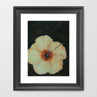 Salmon Yellow Hibiscus Framed Art Print by RokinRonda