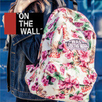 """Vans""Fashion Personality printing large capacity backpack bag leisure travel boom White print flower(7 style)"