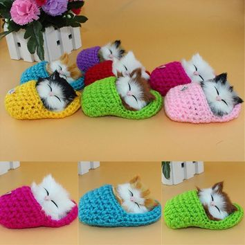 Artificial Cute Ringing Slippers & Squinting Kitten Shaped Plush Dolls Plush Toys