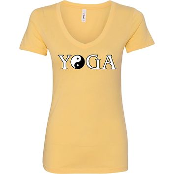 Yoga Clothing For You Yin Yang Yoga Text Ideal V-neck Yoga Tee Shirt