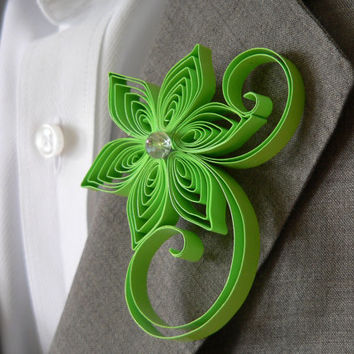 Candy Apple Green Boutonniere, Apple Buttonhole, Apple Wedding